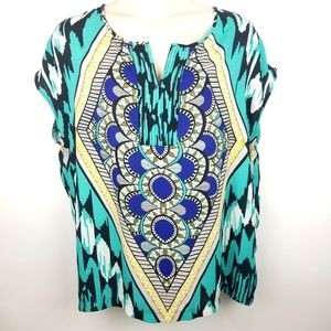 Pure Energy Colorful Busy Aztec Paisley Top